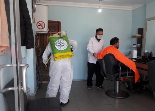 Berber ve Kuaförler Dezenfekte Edildi